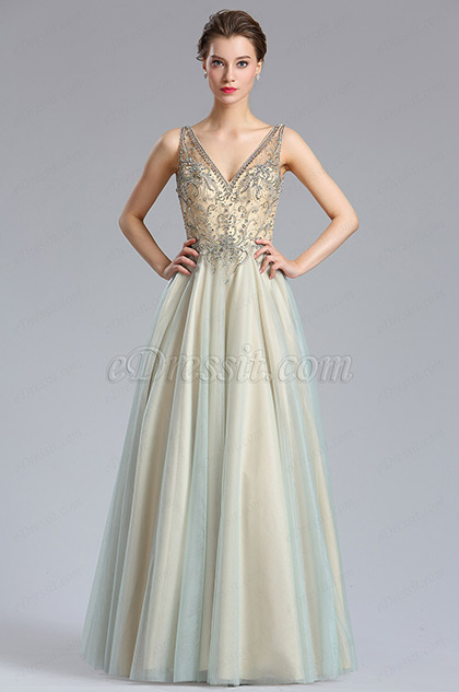 Sparkly V Cut Beaded Women Evening Dresses