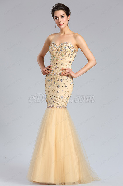 eDressit Strapless Sweetheart Beaded Beige Prom Gown (36184624)