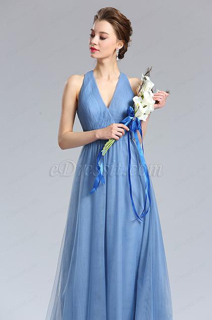 eDressit V-Cut Tulle Bridesmaid Dress Evening Dress (00182105)