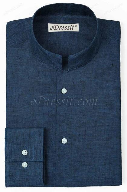 eDressit Custom 100% Linen Blue Mandarin Collar Shirt (29181358)