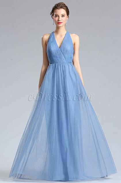 V-Cut Tulle Bridesmaid Dress Evening Dress