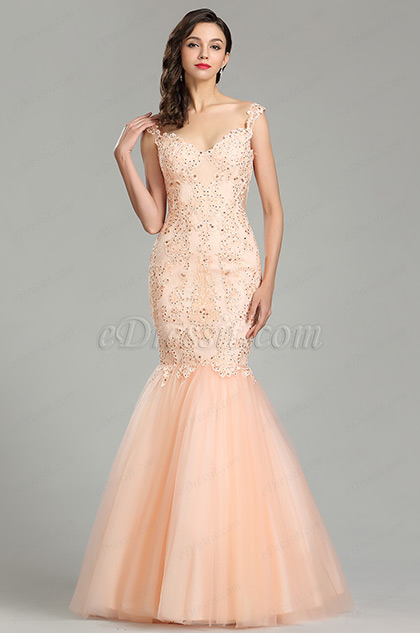 eDressit Peach Strap Prom Gown Mermaid Party Dress