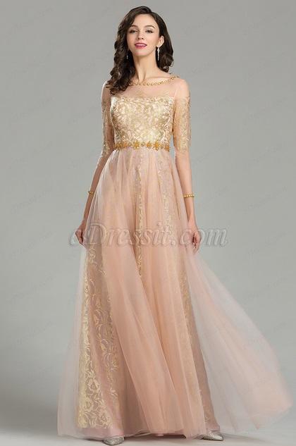 eDressit Gold & Blush Beaded Quinceanera Evening Dress (26180424)