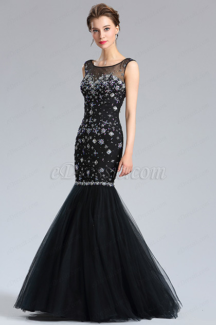 eDressit Sparkly Black Beaded Mermaid Prom Gown Dress (36184500)