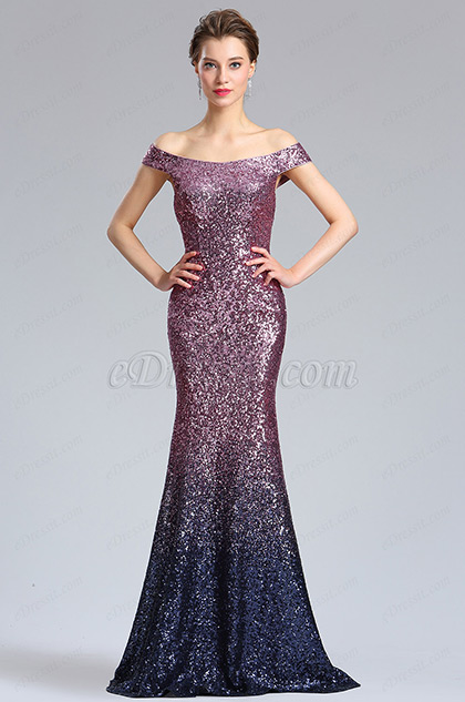 Off Shoulder Sequins Party Evening Dress