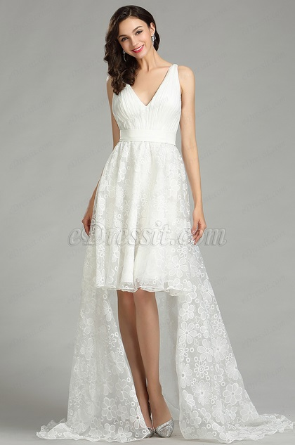 eDressit White Lace Designer Beach Wedding Dress (01180207)