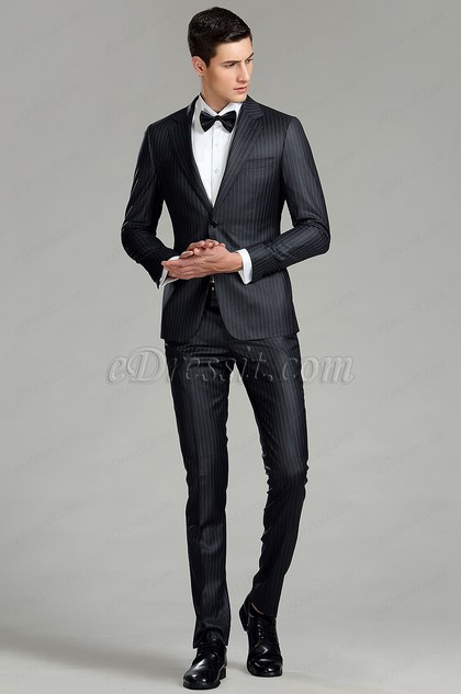 Black Vertical Stripes Custom Men Suits Business Suits (15180400)