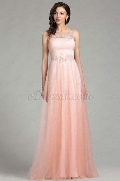 eDressit Elegant Pink Long Lace Evening Dress for Women (00181101)
