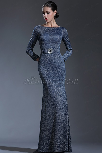 eDressit Long Sleeves Midnight Blue Formal Evening Gown (26181005)