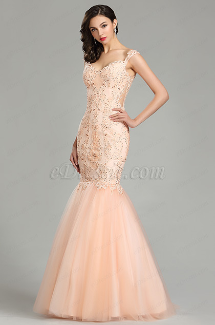 3b164e7c87 Peach Strap Prom Gown Mermaid Party Dress. V cut ...