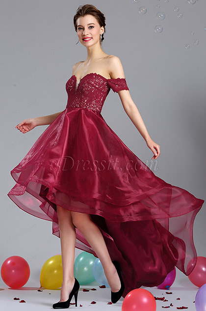 eDressit Burgundy Off Shoulder Prom Homecoming Dress
