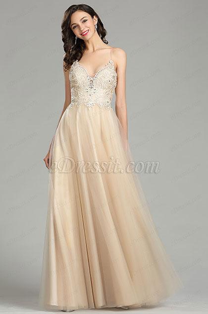 eDressit Champagne Spaghetti Straps Evening Prom Dress (36181514)