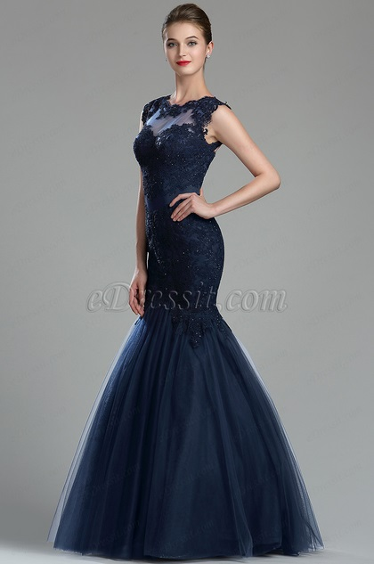 Sparkly Navy Blue Beaded Lace Prom Gown