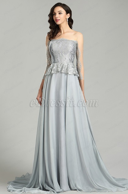 eDressit Elegant Grey Lace Prom Dress with Sleeves (26180608)