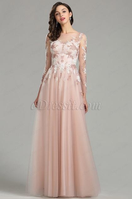 Edressit Pink Long Sleeve Lace Evening Prom Dress 26180501