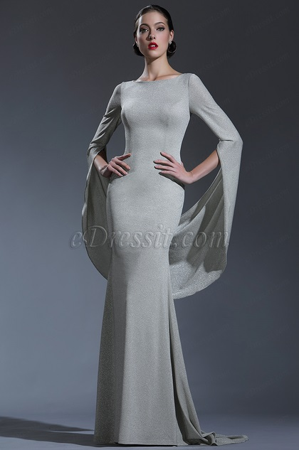 eDressit Shiny Grey Couture Occasion Dressing Gown (02181608)