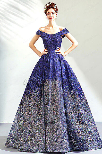 eDressit Sexy Blue Sequins Off-Shoulder Party Evening Gown (36192705)