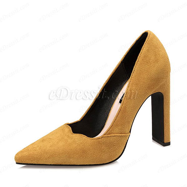 Women's Suede High Chunky Heel Closed Toe Pumps Shoes (0919010)
