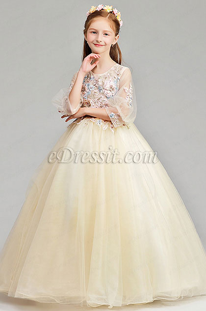 eDressit Long Beige Princess Party Stage Flowergirl Dress (27190614)