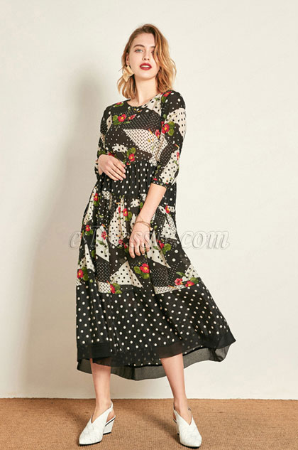 eDressit Silk Round Neck Women Dress Printed Dress (30192368)