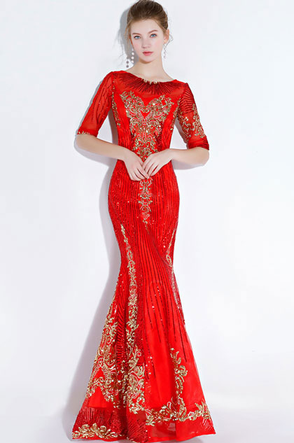 eDressit Sexy Red Gorgeous Beaded Mermaid Prom Party Gown (36220802)