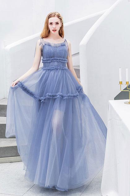 eDressit Blue Spaghetti Long Pleated Tulle Women Party Dress (36213505)