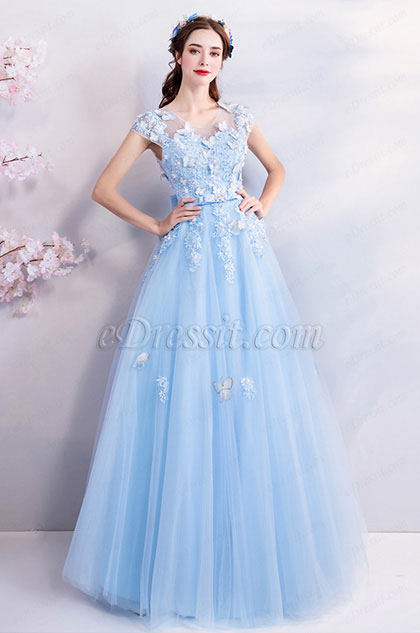 eDressit Light Blue Lace Applique Women Party Dress (36194005)