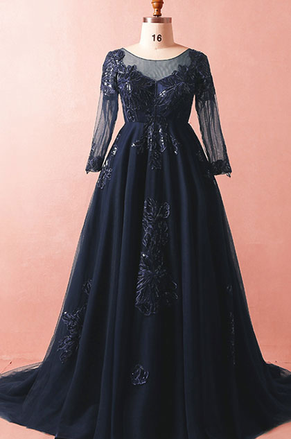 eDressit Navy Blue Sleeves Long Prom Dress Plus Size Dress (31192705)