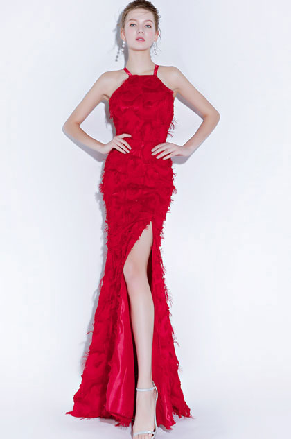 eDressit Sexy Halter Red High Slit Evening Party Dress (36218002)