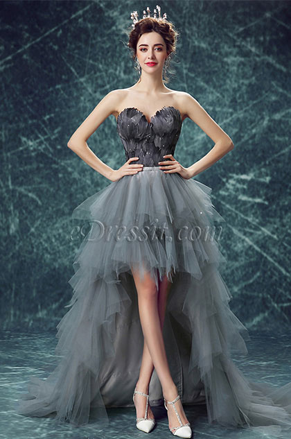 eDressit Grey Corset Feather Ruffle Tulle Party Ball Dress (36193608)
