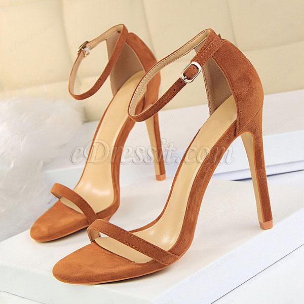 Women's Suede Open Toe Buckle High Heel Sandals Shoes (0919031)