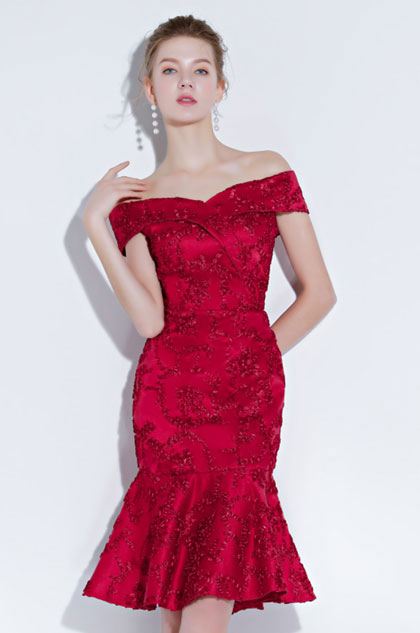 eDressit Red Embroidery Off Shoulder Cocktail Prom Dress (35198002)
