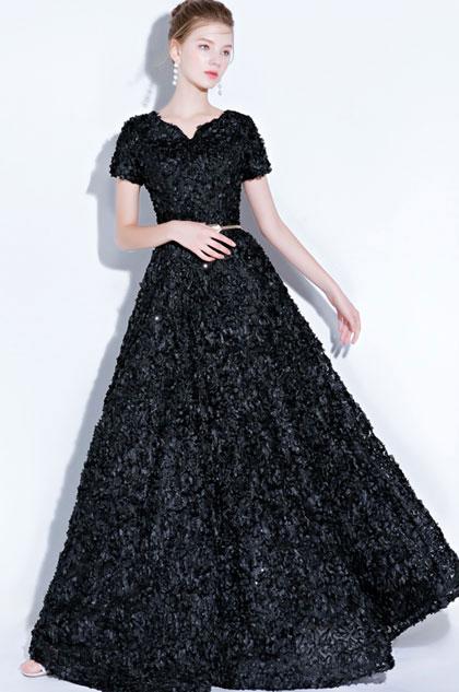 eDressit Black Short Sleeves Long Party Evening Ball Dress (36218100)