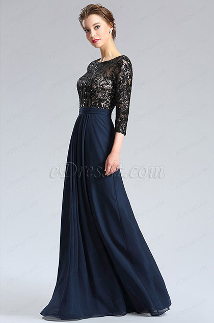 Black&Blue 3/4 Sleeves Mother of the Bride Dress