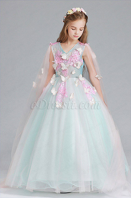 Green Children Wedding Flower Girl Dress