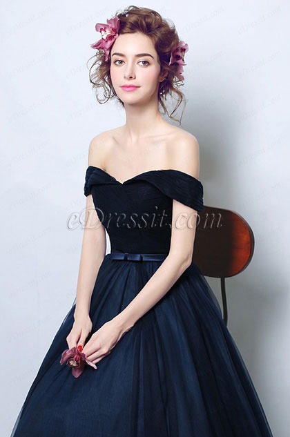 eDressit Off Shoulder Dark Blue Bow Waistbelt Ball Dress (36200505)