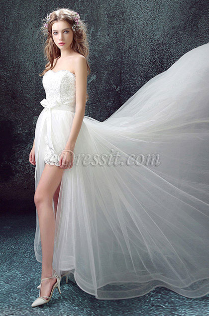 eDressit White Sexy Sweetheart High Slit Bridal Wedding Dress (35193207)