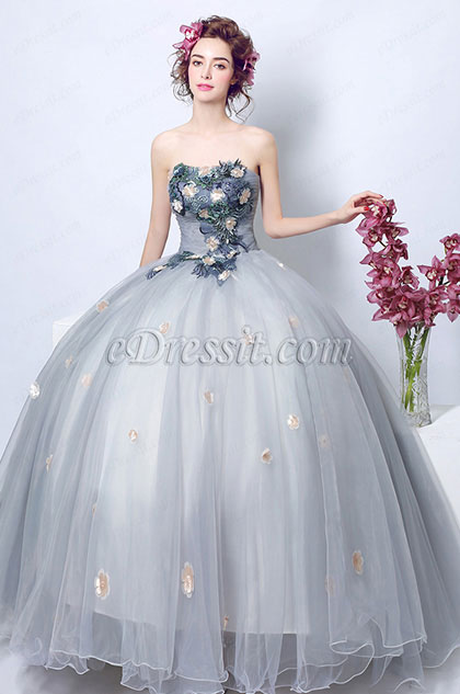 eDressit Sexy Corset Sleeves Grey formal Prom Party Gown(36207908)