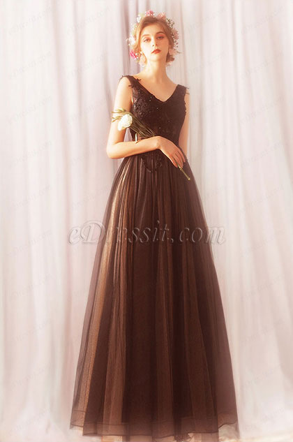 eDressit Sexy Black Tulle Long Women Party Prom Dress (36191800)