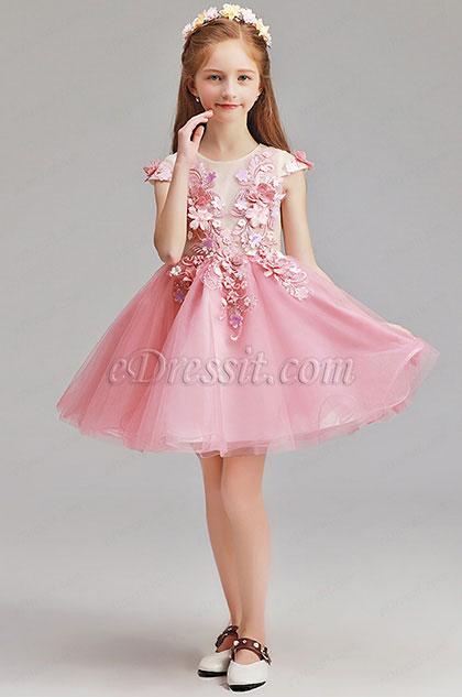 eDressit Lovely Pink Short Sleeves Flower Girl Dress (28195501)