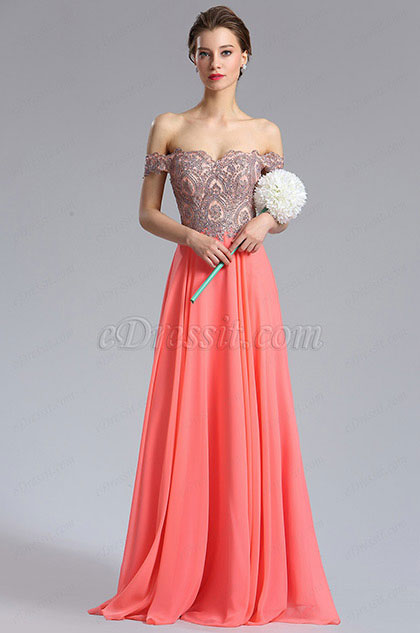 eDressit Coral Off Shoulder Beaded Women's Prom Dress (36184057)