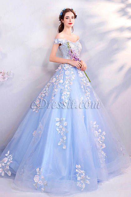 eDressit Light Blue Off-Shoulder  Lace Applique Tulle Party Prom Dress (36199032)