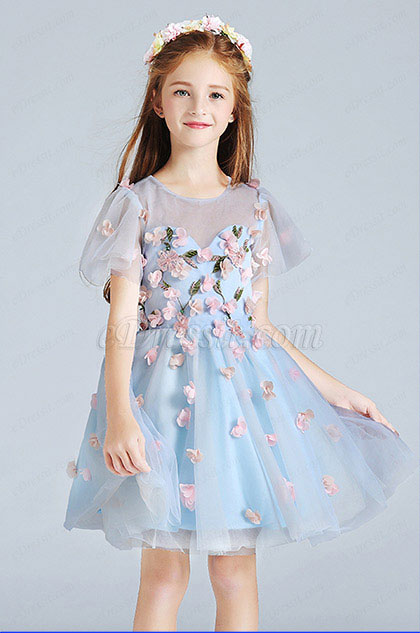 eDressit Blue Cute Wedding Flower Girl Party Dress (28190205)