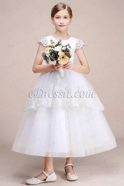 White Lace Long Wedding Flower Girl Dress