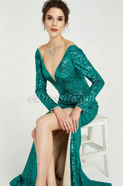 Green Sequins Long Sleeves Slit Ball Gown Dress