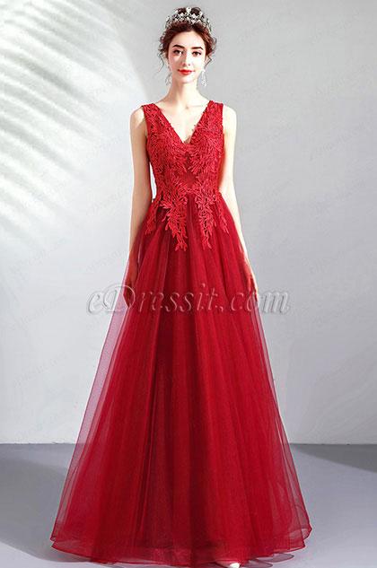 eDressit Red V-Cut Lace Appliques Tulle Elegant Party Dress (36212602)