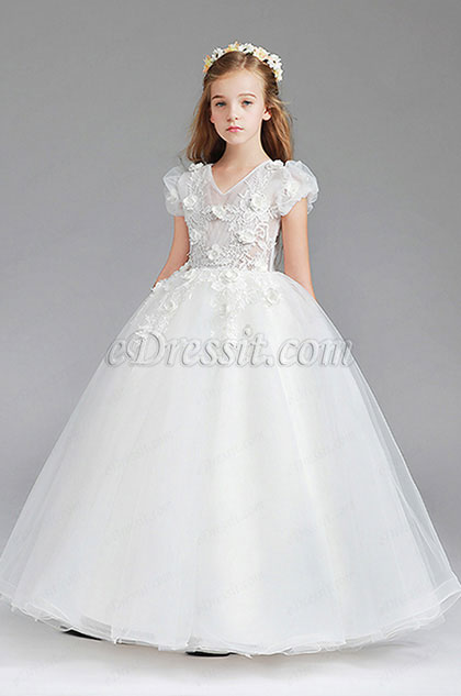 Lace Short Sleeves Wedding Flower Girl Party Dress
