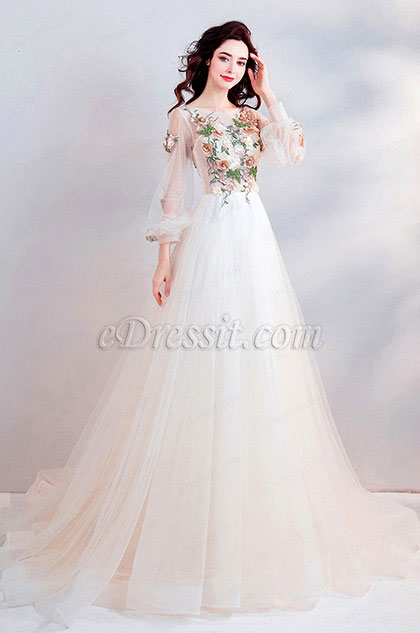 eDressit Sexy Sleeves Fairy Long Tulle Party Wedding Dress (36195614)