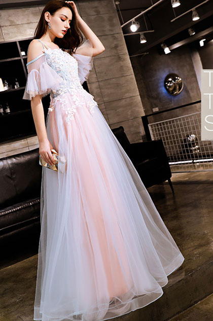 eDressit Sexy Pink Off-Shoulder Embroidery Tulle Party Prom Dress (36219401)