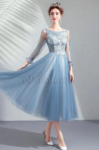 eDressit Light Blue Overlace Cocktail Pary Dress (35191232)